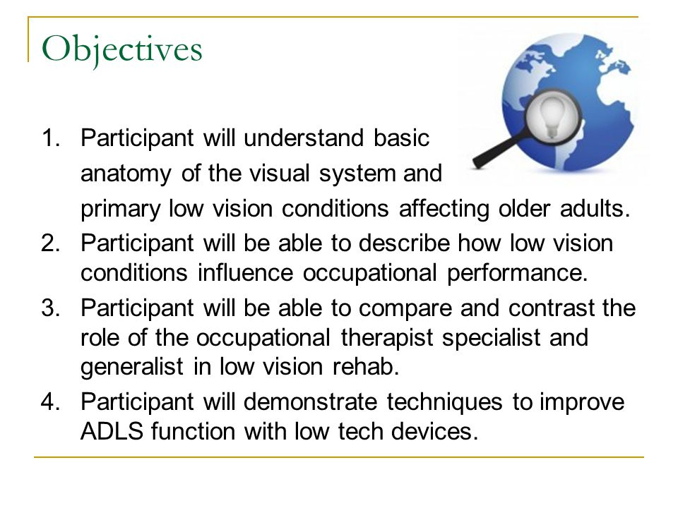 Objectives 1.Participant will understand basic anatomy of the visual system and primary low vision conditions affecting older adults. 2.Participant wi