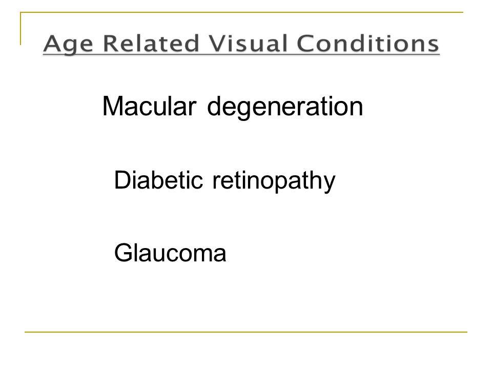 Macular degeneration Diabetic retinopathy Glaucoma
