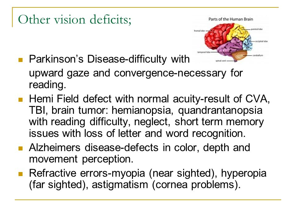 Other vision deficits; Parkinson's Disease-difficulty with upward gaze and convergence-necessary for reading. Hemi Field defect with normal acuity-res