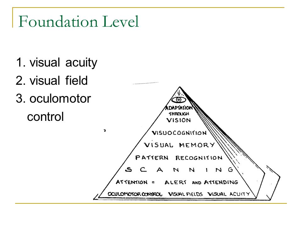 Foundation Level 1. visual acuity 2. visual field 3. oculomotor control