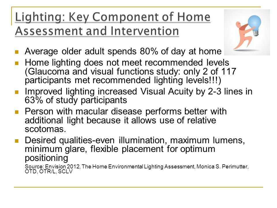Average older adult spends 80% of day at home Home lighting does not meet recommended levels (Glaucoma and visual functions study: only 2 of 117 parti