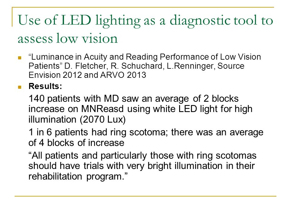 "Use of LED lighting as a diagnostic tool to assess low vision ""Luminance in Acuity and Reading Performance of Low Vision Patients"" D. Fletcher, R. Sch"