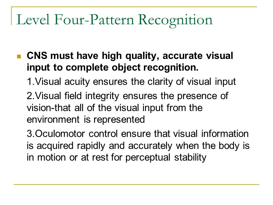 Level Four-Pattern Recognition CNS must have high quality, accurate visual input to complete object recognition. 1.Visual acuity ensures the clarity o