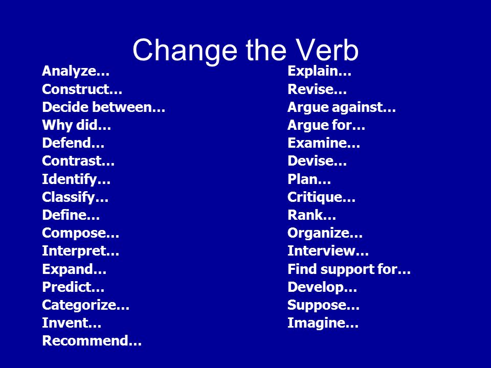 Change the Verb Analyze…Explain… Construct… Revise… Decide between…Argue against… Why did…Argue for… Defend…Examine… Contrast…Devise… Identify…Plan… C
