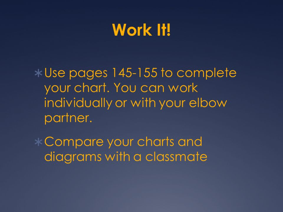 Work It!  Use pages 145-155 to complete your chart. You can work individually or with your elbow partner.  Compare your charts and diagrams with a c