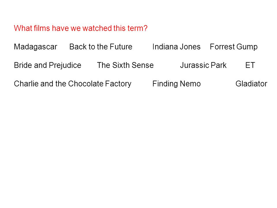 MadagascarBack to the FutureIndiana Jones Forrest Gump Bride and PrejudiceThe Sixth SenseJurassic Park ET Charlie and the Chocolate FactoryFinding Nem