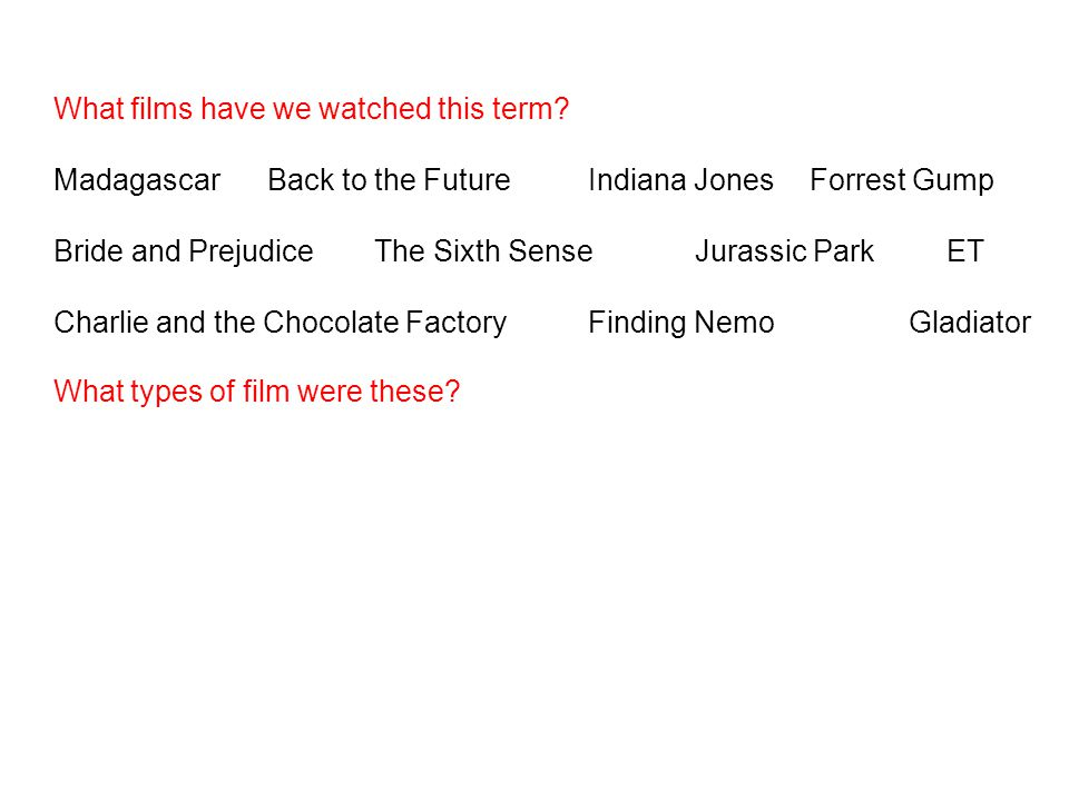 What films have we watched this term? MadagascarBack to the FutureIndiana Jones Forrest Gump Bride and PrejudiceThe Sixth SenseJurassic Park ET Charli