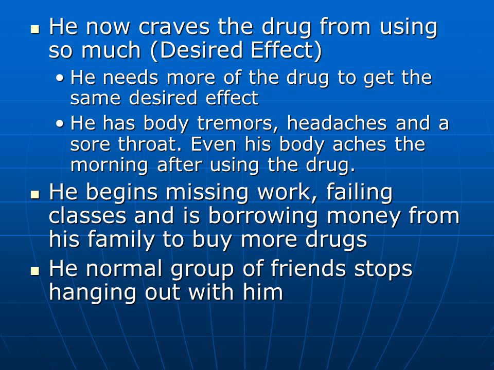He claims he can stop using the drug at any time, doesn't think he has a problem (Denial) He claims he can stop using the drug at any time, doesn't think he has a problem (Denial) He starts taking the drug more frequently even though he doesn't like the way it makes him feel or enjoys it anymore (Drug Dependent) He starts taking the drug more frequently even though he doesn't like the way it makes him feel or enjoys it anymore (Drug Dependent) Tries to quit, but can't Tries to quit, but can't