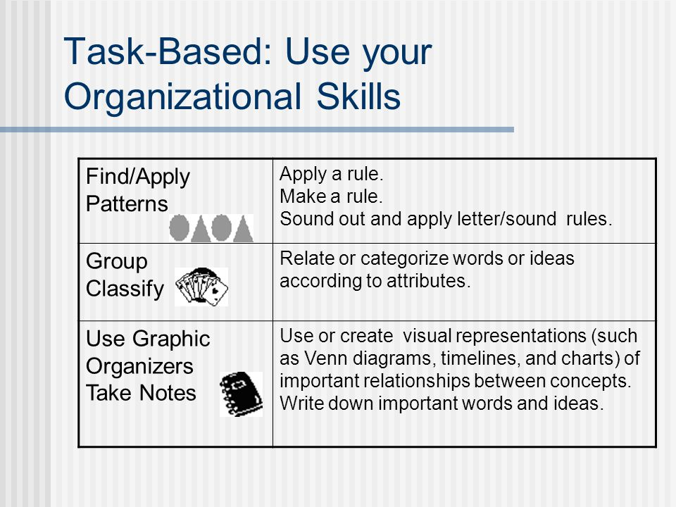 Task-Based: Use your Organizational Skills Find/Apply Patterns Apply a rule.