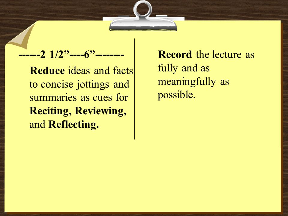 5 R s of note-taking are: 1.Record.
