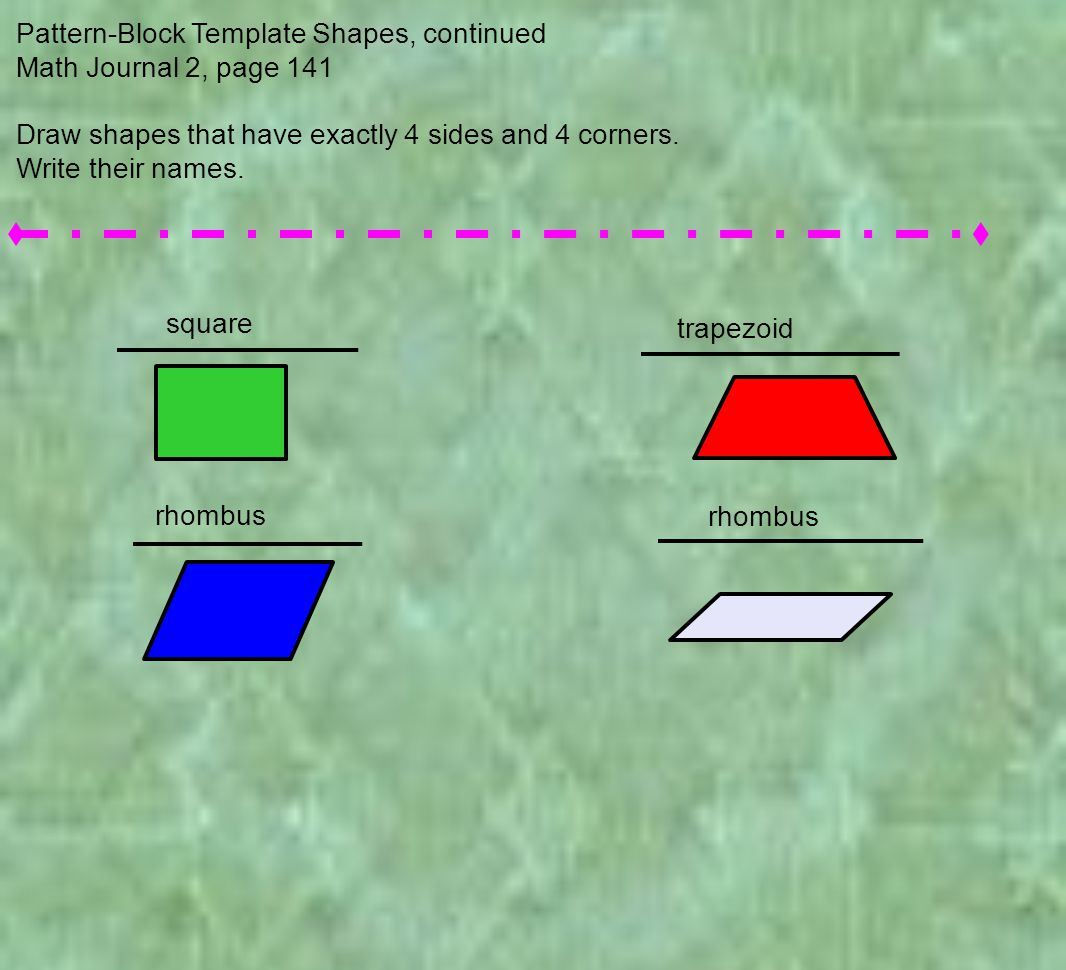 Pattern-Block Template Shapes, continued Math Journal 2, page 141 Draw shapes that have exactly 4 sides and 4 corners.