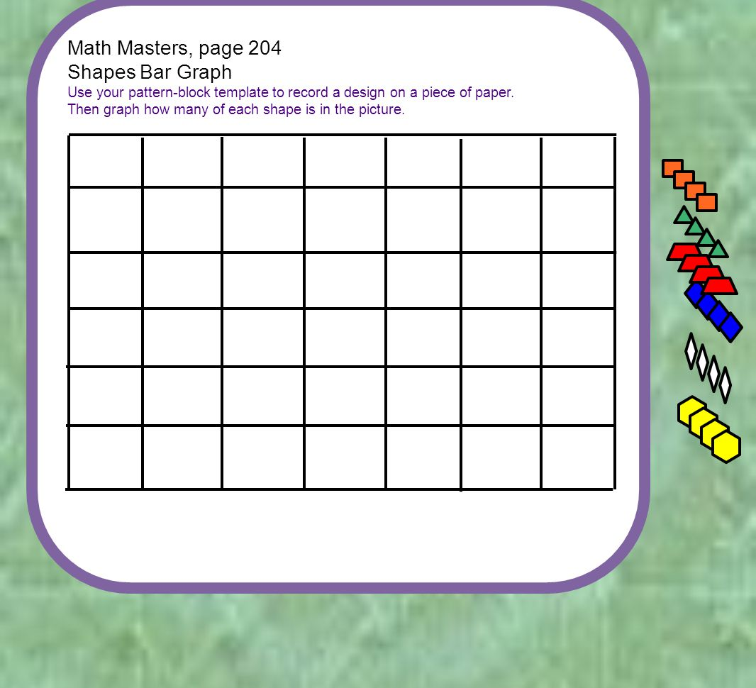 Math Masters, page 204 Shapes Bar Graph Use your pattern-block template to record a design on a piece of paper.