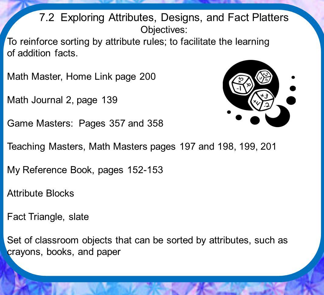 Lesson 7.3 Math Message Take a pattern block.