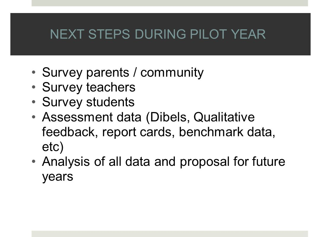NEXT STEPS DURING PILOT YEAR Survey parents / community Survey teachers Survey students Assessment data (Dibels, Qualitative feedback, report cards, benchmark data, etc) Analysis of all data and proposal for future years