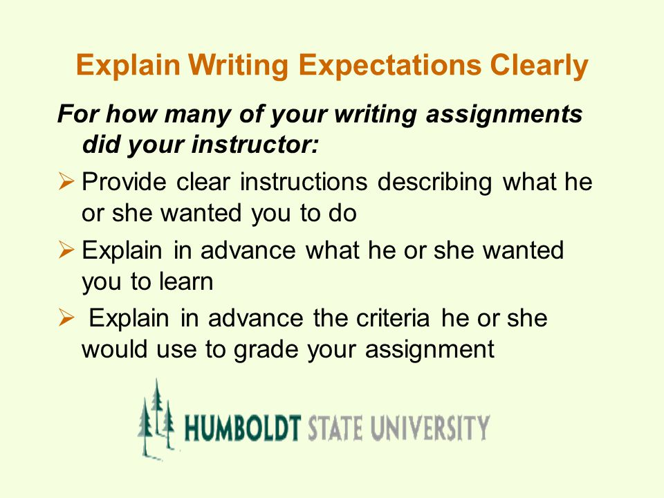 Explain Writing Expectations Clearly For how many of your writing assignments did your instructor:  Provide clear instructions describing what he or she wanted you to do  Explain in advance what he or she wanted you to learn  Explain in advance the criteria he or she would use to grade your assignment
