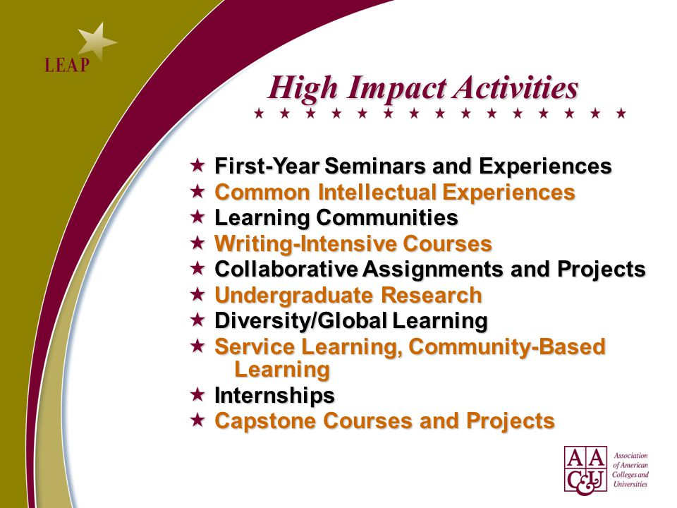 High Impact Activities  First-Year Seminars and Experiences  First-Year Seminars and Experiences  Common Intellectual Experiences  Learning Communities  Writing-Intensive Courses  Collaborative Assignments and Projects  Undergraduate Research  Diversity/Global Learning  Service Learning, Community-Based Learning  Internships  Capstone Courses and Projects