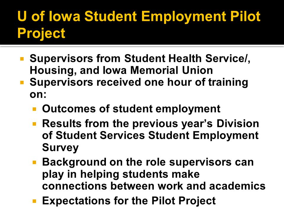 U of Iowa Student Employment Pilot Project  Supervisors from Student Health Service/, Housing, and Iowa Memorial Union  Supervisors received one hour of training on:  Outcomes of student employment  Results from the previous year's Division of Student Services Student Employment Survey  Background on the role supervisors can play in helping students make connections between work and academics  Expectations for the Pilot Project