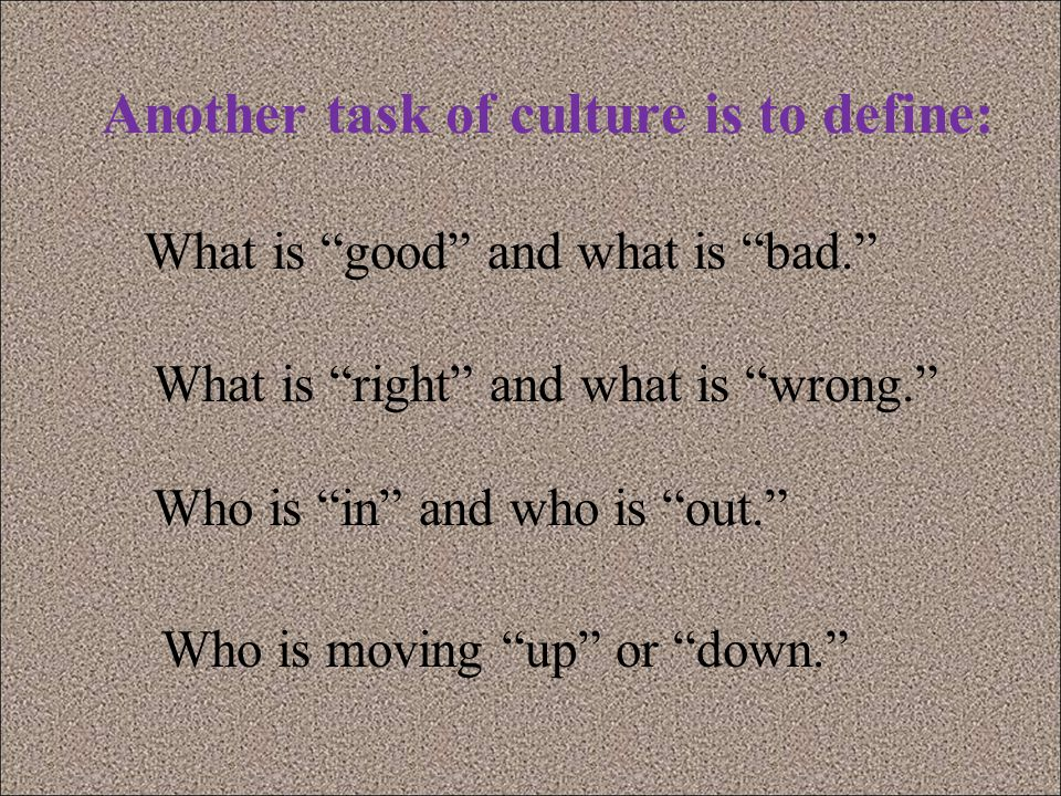 Another task of culture is to define: Who is in and who is out. Who is moving up or down. What is good and what is bad. What is right and what is wrong.
