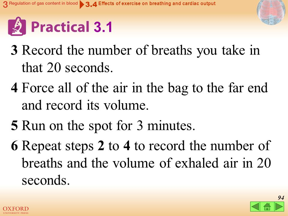 93 3.1 Study of the changes in breathing before and after exercise using a breath volume kit 1 Sit down quietly for 2 minutes. 2 Get a classmate ready
