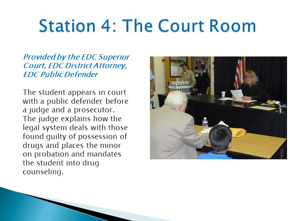 Provided by the EDC Superior Court, EDC District Attorney, EDC Public Defender The student appears in court with a public defender before a judge and a prosecutor.