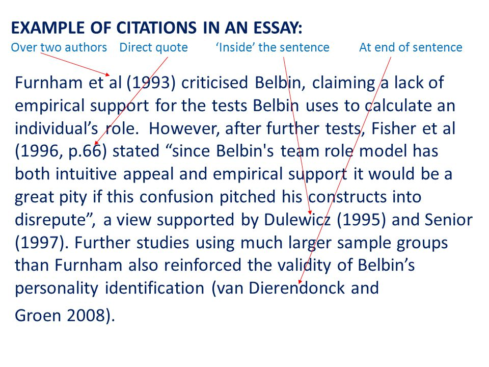 EXAMPLE OF CITATIONS IN AN ESSAY: Over two authors Direct quote 'Inside' the sentence At end of sentence Furnham et al (1993) criticised Belbin, claiming a lack of empirical support for the tests Belbin uses to calculate an individual's role.