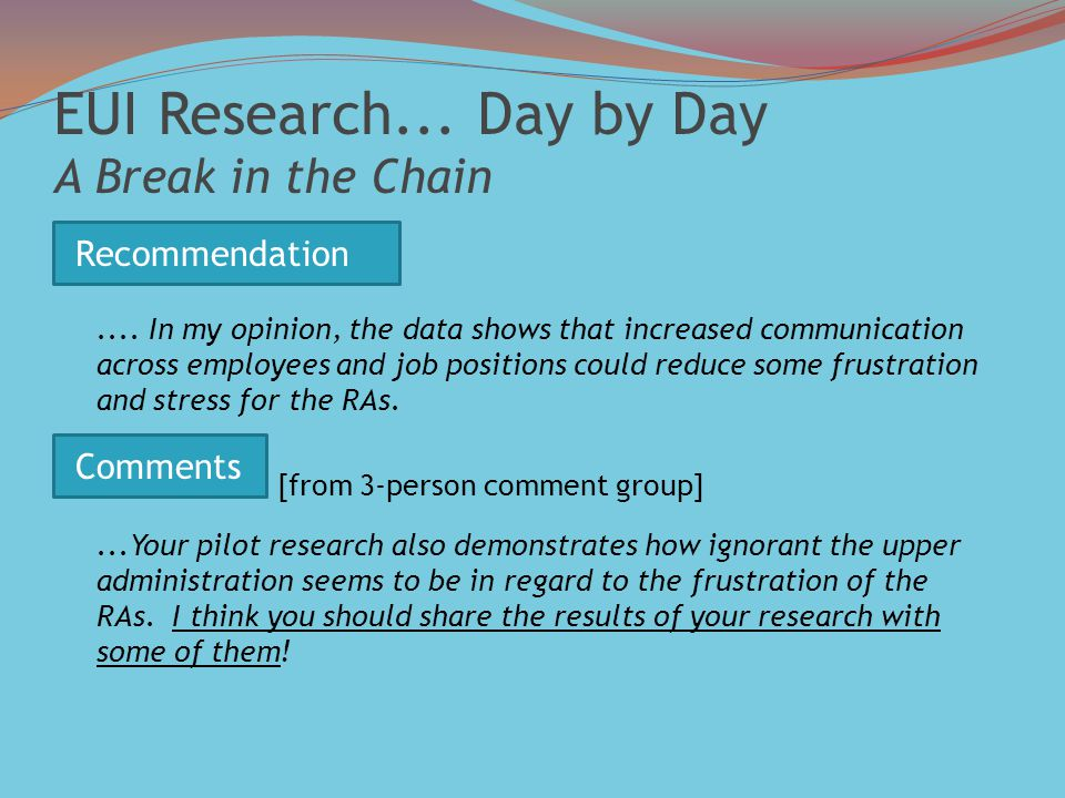 EUI Research...Day by Day A Break in the Chain....
