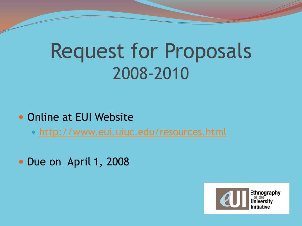 Request for Proposals 2008-2010 Online at EUI Website http://www.eui.uiuc.edu/resources.html Due on April 1, 2008