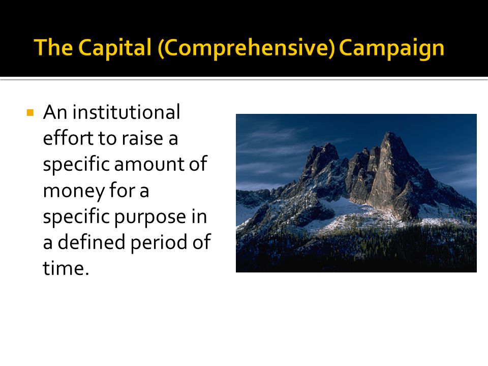 An institutional effort to raise a specific amount of money for a specific purpose in a defined period of time.