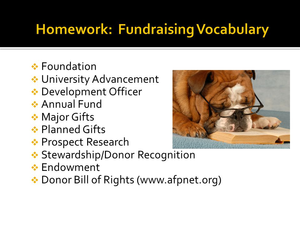 Foundation  University Advancement  Development Officer  Annual Fund  Major Gifts  Planned Gifts  Prospect Research  Stewardship/Donor Recognition  Endowment  Donor Bill of Rights (www.afpnet.org)