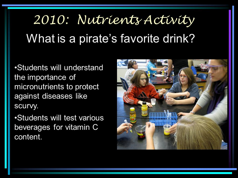 2010: Nutrients Activity What is a pirate's favorite drink? Students will understand the importance of micronutrients to protect against diseases like