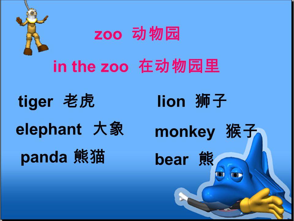 tiger 老虎 lion 狮子 elephant 大象 monkey 猴子 panda 熊猫 bear 熊 zoo 动物园 in the zoo 在动物园里