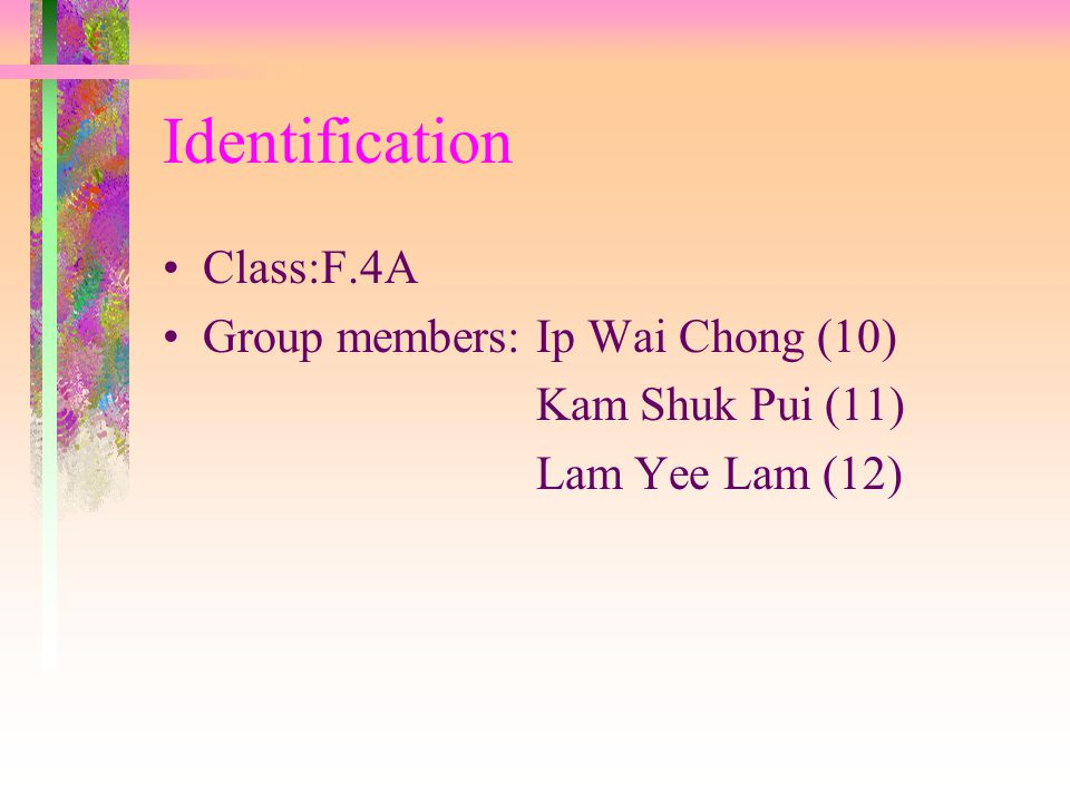 Evaluation I am Ip Wai Chong F.4A(10).I felt tried after this field trip.But I enjoy this field trip because I like hiking very much and I feel interesting in Geography knowledge.I learn many thing in this field trip.I know that I should pay greater attention to do everything.I need to work hard in the learning experience and pay greater effort on revising Geography and other subjects.I hate rainning.It made all people's clothes wet.But it improved classmate's relationship.At last,I hope the next field trip would rainning.