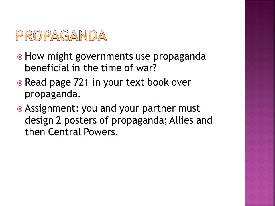  How might governments use propaganda beneficial in the time of war.