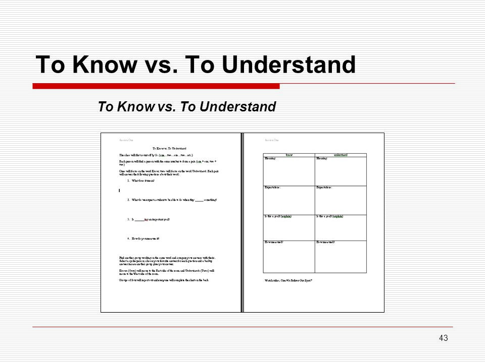 43 To Know vs. To Understand