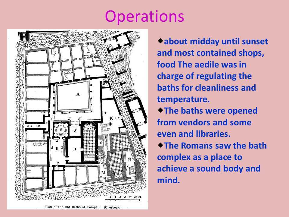 Operations  about midday until sunset and most contained shops, food The aedile was in charge of regulating the baths for cleanliness and temperature