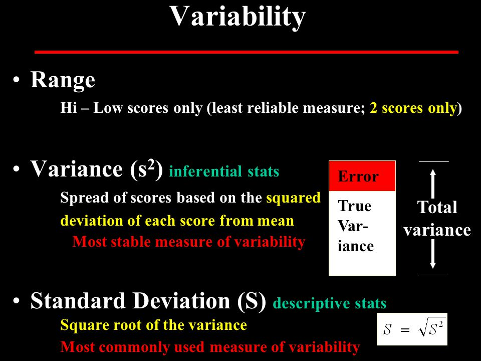 Variability Range Hi – Low scores only (least reliable measure; 2 scores only) Variance (s 2 ) inferential stats Spread of scores based on the squared deviation of each score from mean Most stable measure of variability Standard Deviation (S) descriptive stats Square root of the variance Most commonly used measure of variability True Var- iance Total variance Error