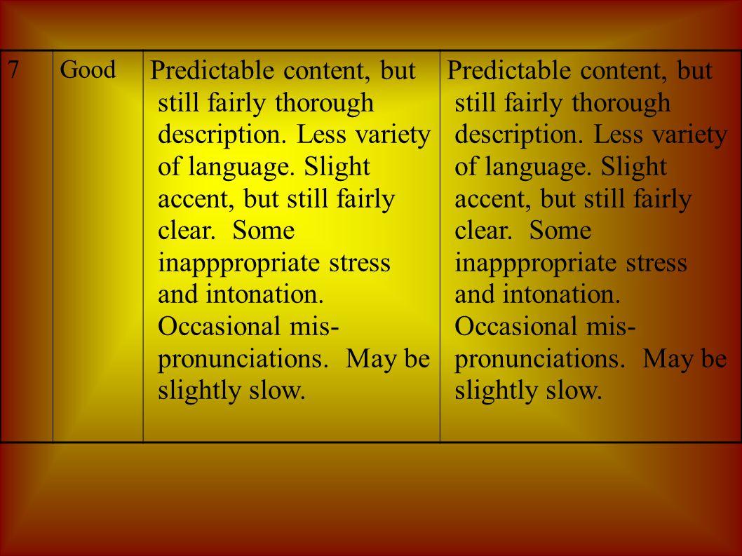 7Good Predictable content, but still fairly thorough description.