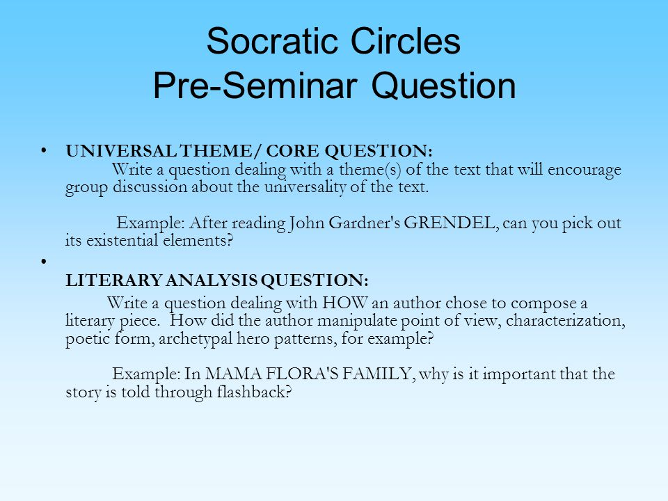Socratic Circles Pre-Seminar Question UNIVERSAL THEME/ CORE QUESTION: Write a question dealing with a theme(s) of the text that will encourage group discussion about the universality of the text.