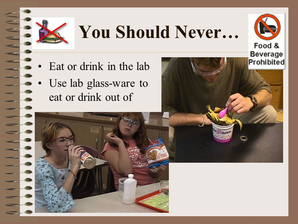You Should Never… Eat or drink in the lab Use lab glass-ware to eat or drink out of