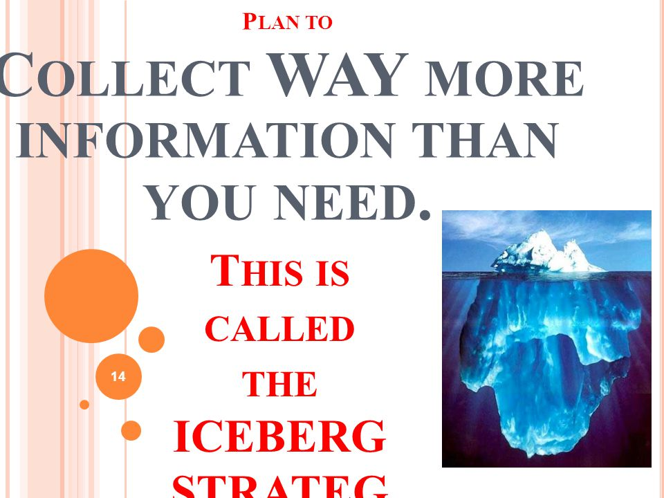 14 P LAN TO C OLLECT WAY MORE INFORMATION THAN YOU NEED. T HIS IS CALLED THE ICEBERG STRATEG Y.