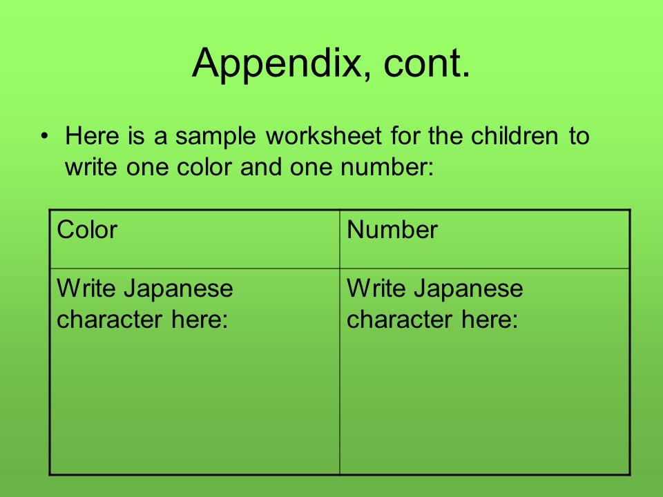 Appendix, cont.