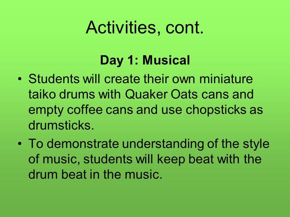 Activities, cont.