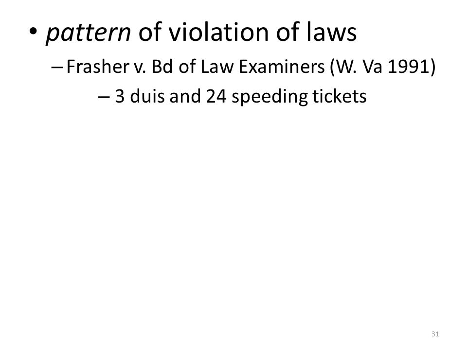 31 pattern of violation of laws – Frasher v. Bd of Law Examiners (W.