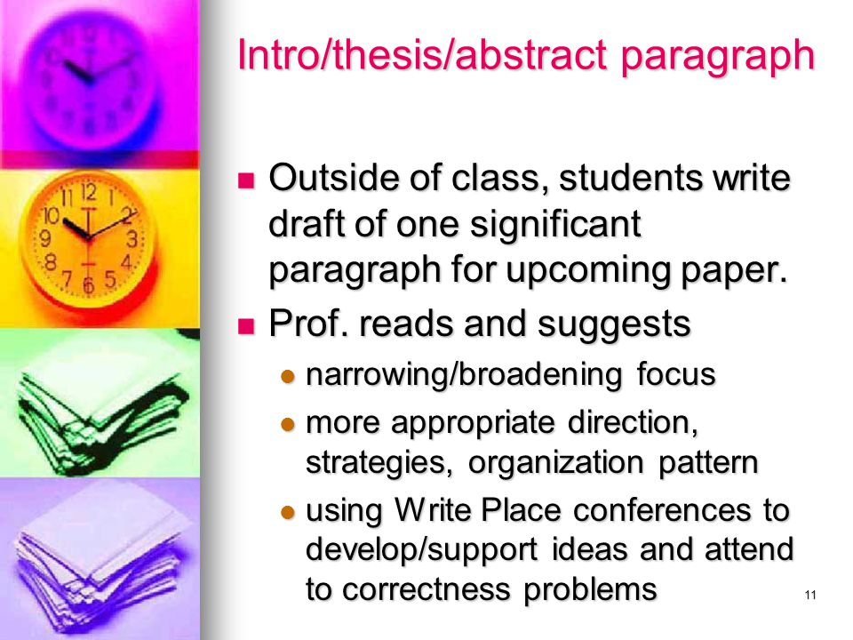 11 Intro/thesis/abstract paragraph Outside of class, students write draft of one significant paragraph for upcoming paper. Outside of class, students