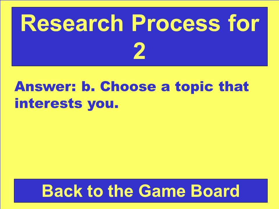 Which is the BEST way to select a topic that you will enjoy for a report or Research project.