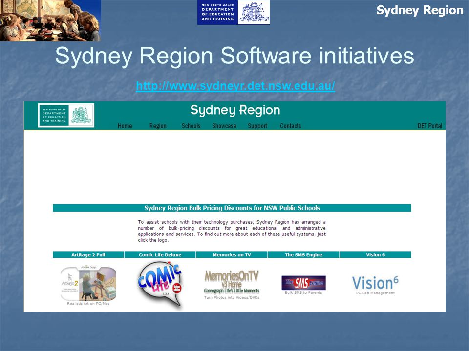 Sydney Region Sydney Region Software initiatives http://www.sydneyr.det.nsw.edu.au/