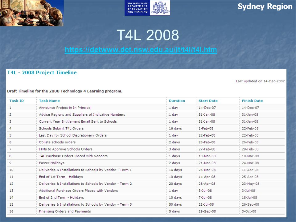 Sydney Region T4L 2008 https://detwww.det.nsw.edu.au/it/t4l/t4l.htm