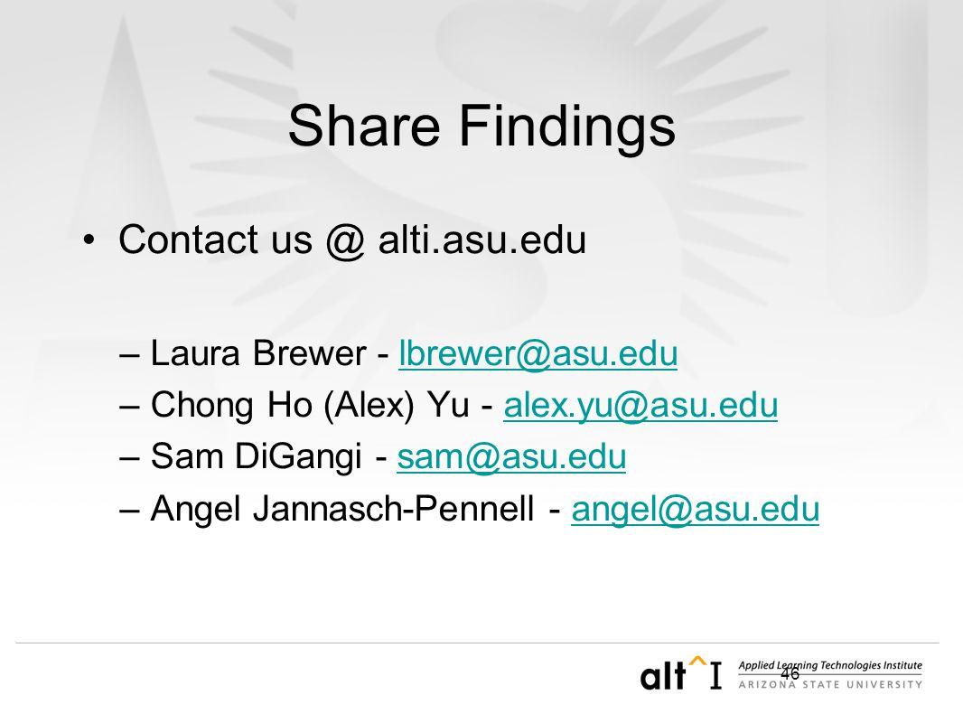 46 Share Findings Contact us @ alti.asu.edu –Laura Brewer - lbrewer@asu.edulbrewer@asu.edu –Chong Ho (Alex) Yu - alex.yu@asu.edualex.yu@asu.edu –Sam D