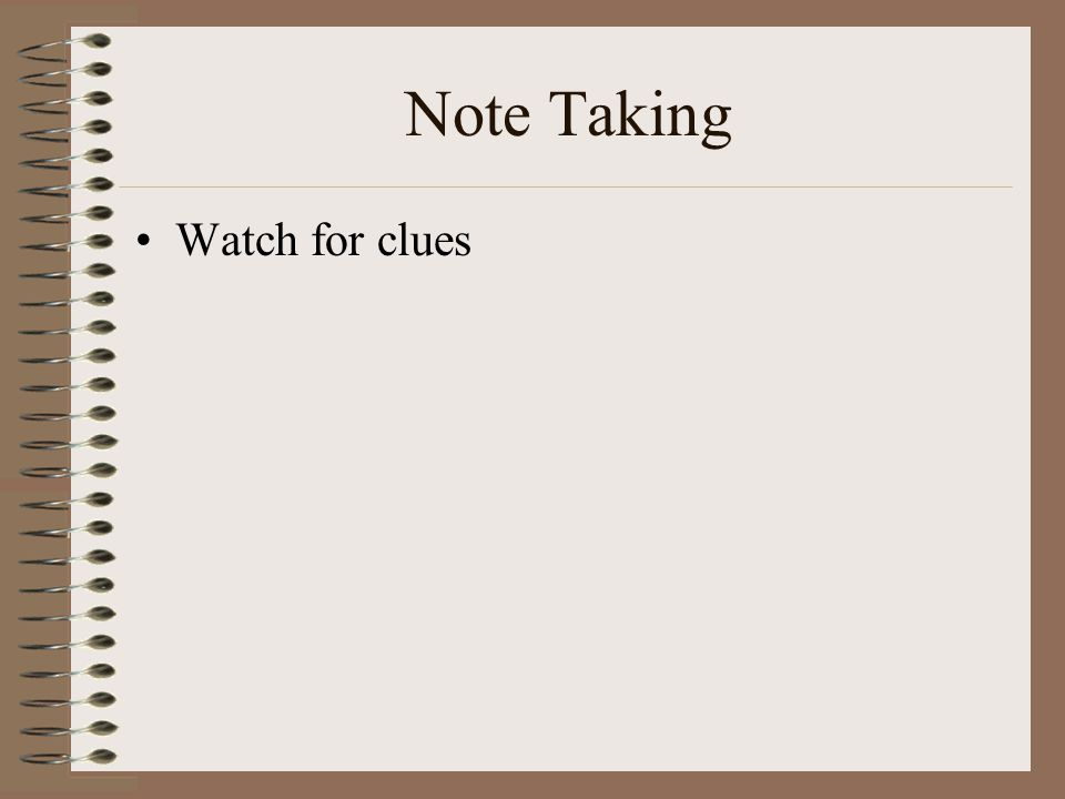 Note Taking Watch for clues