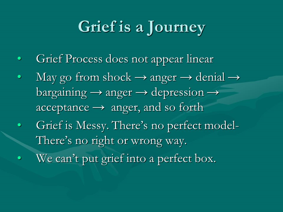 Grief is a Journey Grief Process does not appear linearGrief Process does not appear linear May go from shock → anger → denial → bargaining → anger → depression → acceptance → anger, and so forthMay go from shock → anger → denial → bargaining → anger → depression → acceptance → anger, and so forth Grief is Messy.